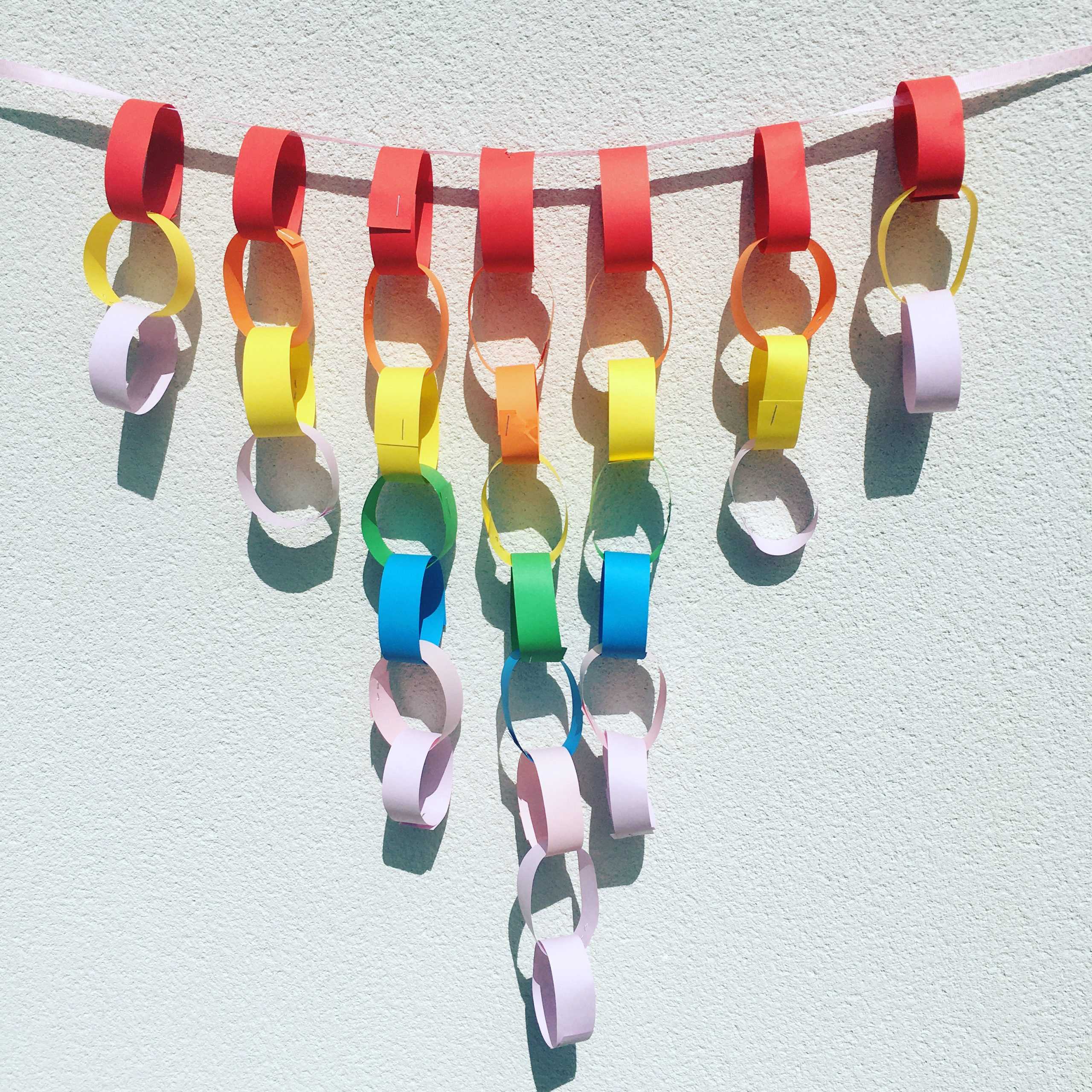 Rainbow Paper Chain Mobile
